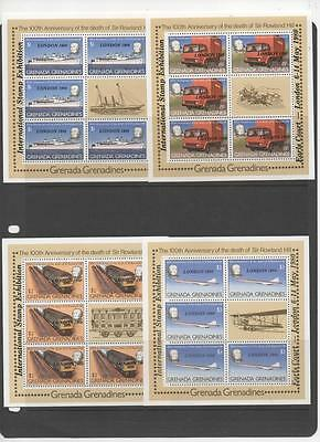 Grenada Grenadines 4 Souvenir Sheets of Rowland Hill Overprinted London 1980 MNH