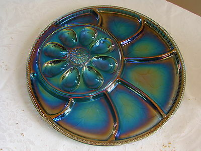 VTG Indiana Carnival Glass Deviled Egg Plate Blue Iridescent Platter Tray Easter