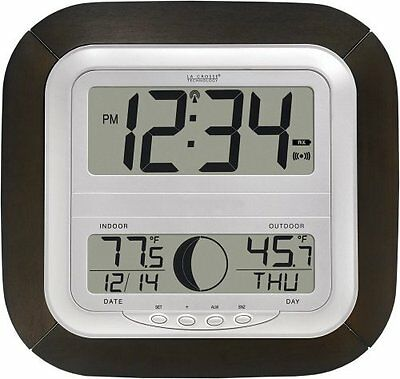 Digital Wall Alarm Clock With Moon Phase & Large Outdoor Temperature Display