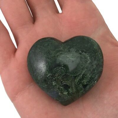 Puffy Heart Moss Agate Large Palm Sized Hand Carved Gemstone Stone Love Crystal