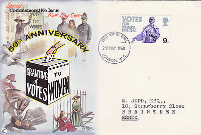 GB : VOTES FOR WOMEN 50th ANNIVERSARY FIRST DAY COVER (1968)