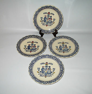 Johnson Brothers Hearts & Flowers 4 Saucers Only Blue People Flowers England