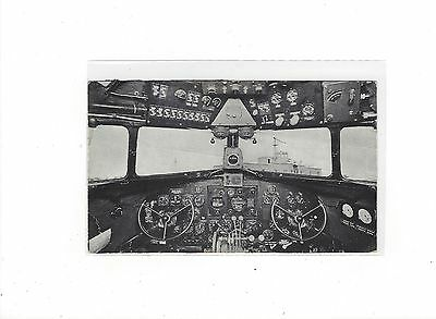 Northwest Airlines issued DC-3 cockpit view b/w postcard
