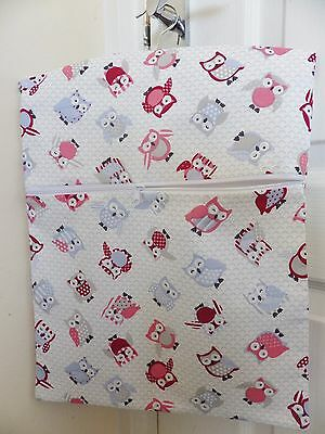 "Hand Made Peg/Hanging Storage Bag Lined & Zipped 12.5"" x 16"" ROSE TOOT OWLS"