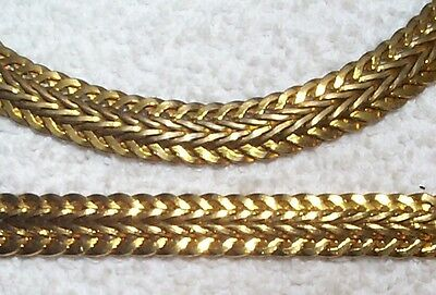 Vintage Large Woven Solid Brass Link Chain 15 Inch 2 Pieces Rare Spotty/reduced
