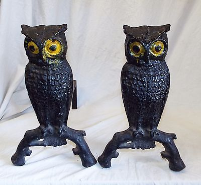 Pair of Old Antique Cast Iron OWLS w/ YELLOW EYES Figural FIREPLACE ANDIRONS