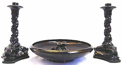 ROOKWOOD 4-Piece CONSOLE. MIRROR BLACK. Dolphin Candle Holders, Bowl, Frog.1920s