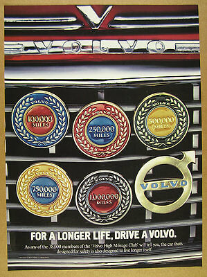 1990 Volvo High Mileage Club 100 250 500 750 1M Miles Badges vintage print Ad