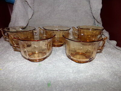 Vtg Cambridge Glass USA 5 pc Amber Decagon Pattern Coffee Tea Cup Made in USA