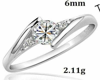 White Gold Plated Created Diamond Wedding & Engagement Ring