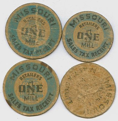 Lot of 4 Missouri 1 & 5 Mills Sales Tax Receipt Tax Tokens #56409