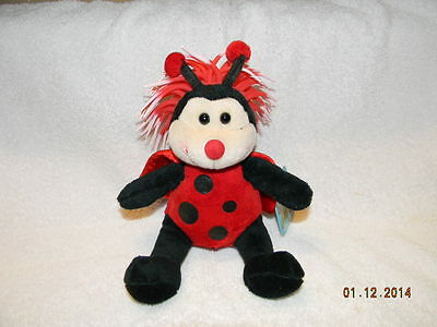 ZIBBIES RED & BLACK LADYBUG PLUSH FOZZY TOY With RUBBER FLEX HAIR FREE SHIPPING