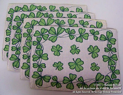4 New St Patricks Day Tapestry Placemat Table Mat Doily Green Shamrocks