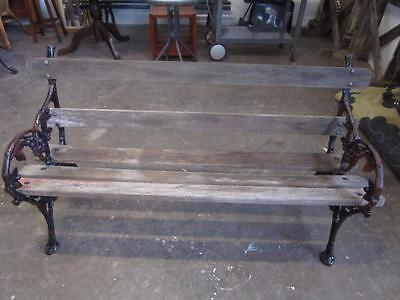D19019 Vintage Rustic Timber Cast Iron Garden Bench Seat
