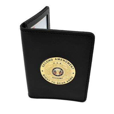 "2nd Amendment Gold Concealed Carry Leather Document ID Holder 2 5/8"" X 3 7/8"""