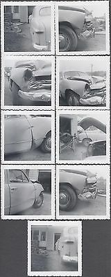 Lot of 9 Vintage Car Photos Unusual 1949 Ford Automobile Wreck 773604