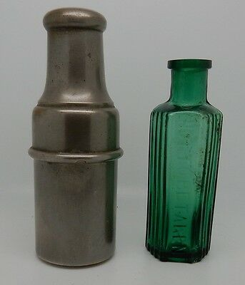 Antique Victorian English Green Glass Apothecary Poison Bottle Vial & Metal Case
