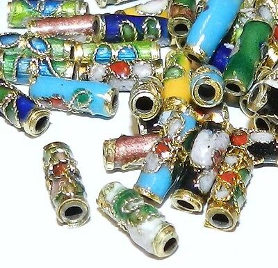 CLL140L Assorted 9mm Round Tube Enamel Overlay on Metal Cloisonne Beads 50/pkg