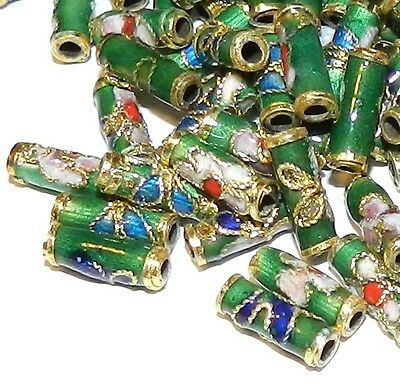 CLL136L Green 9mm Round Tube Enamel Overlay on Metal Cloisonne Beads 50/pkg