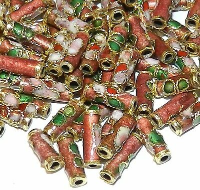 CLXL137L Rosy Red 9mm Round Tube Enamel Overlay on Metal Cloisonne Beads 100/pkg