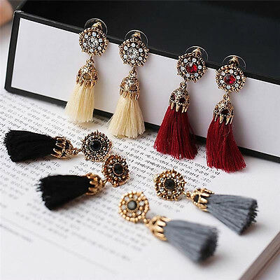 Women Thread Long Tassel Earrings Rhinestone Drop Statement Fringe Earrings