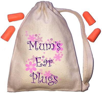 Mum's Floral Design TINY Ear Plugs Storage Bag & 4 Ear Plugs DIY / Snoring