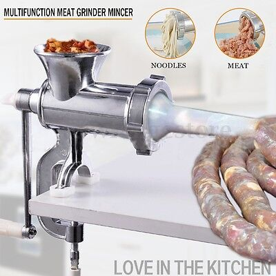 Heavy Duty Manual Meat Grinder Mincer Beef Sausage Maker Filler Chopper Kitchen