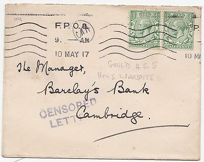 * 1917 CENSORED LETTER HANDSTAMP ON FPOa ENVELOPE TO BARCLAYS BANK CAMBRIDGE WW1