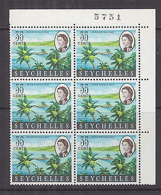 SEYCHELLES, 1962 QE 35c. Anse Royale, Sheet # block of 6, mnh.
