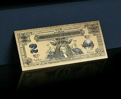 <GOLD STUNNING>1800's Series $2 SILVER CERTIFICATE Banknote Rep*W/COA~US SELLER!