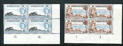 Gibraltar 1953  6d and 1s Values  Plate Blocks (4)  unmounted MINT  (J710)