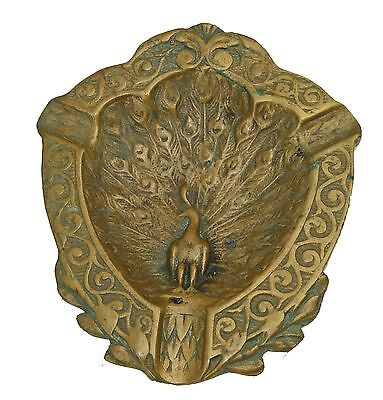 Antique cigarette cigar ashtray heavy bronze with a bird peacock french