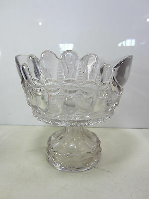 Vintage Heavy Pressed Glass Trifle Style Footed Bowl