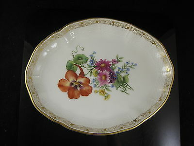 KPM Berlin Porcelain Oval Dish Hand Painted Flowers Basket Weave Border Gilded