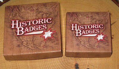 Three Reproduction Old West Badges & Three Repro Wanted Posters