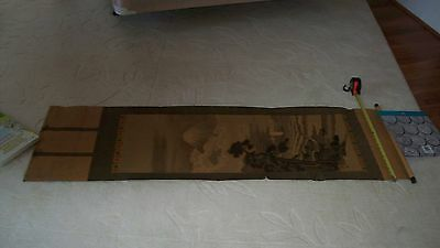 "signed/stamped Japanese Mt Fuji net fishing scroll, 19"" x 48"""