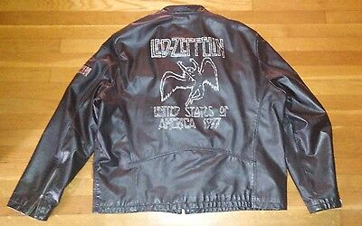 Led Zeppelin Leather Jacket Us Tour1977 Special Edition Wilson Leather Rocks Xxl