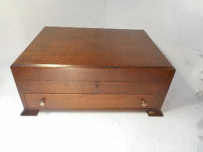 Antique Desktop Oak Stationery Box , Collectors Chest    , ref 2924