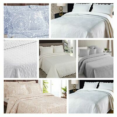 Luxury Embroidered Bedspreads Bed Cover Throws All Sizes Cream & White