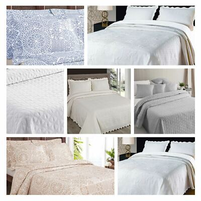 Luxury Embroidered Bedspreads Throws All Sizes Cream & White