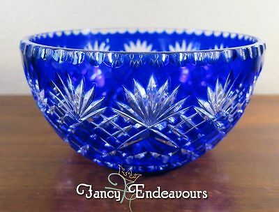 Cobalt Blue Cut to Clear Crystal Large Fan Star Lattice Bowl Lausitzer Glas