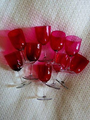ANTIQUE VICTORIAN  CRANBERRY GLASS STEMWARE WINE SHERRY PORT CORDIAL 1800s