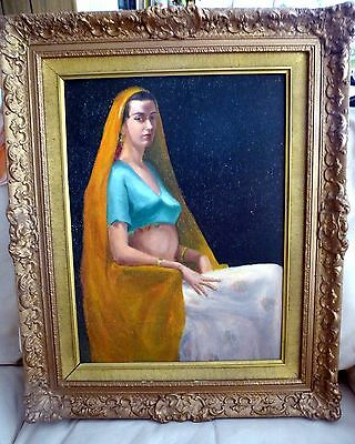 Vintage Original Oil Painting Exotic Woman in Chair Portrait Gold Ornate Frame