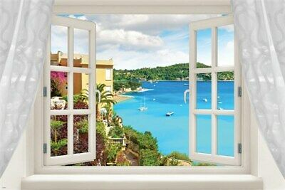 WINDOW into MEDITERRANEAN BEACH poster TURQUOISE OCEAN palms 24X36 UNIQUE