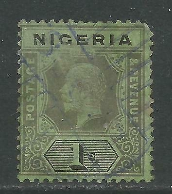 Nigeria 1914-27 King George V 1sh black on green (8) used