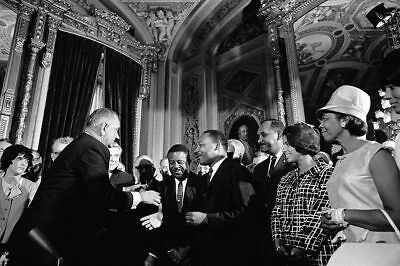 LBJ and Martin Luther King Voting Rights Act 12x18 Silver Halide Photo Print