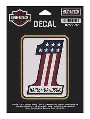 Harley-Davidson Red-White-Blue #1 Logo Matte Finish Decal, 3.25 x 4.125 DC227992