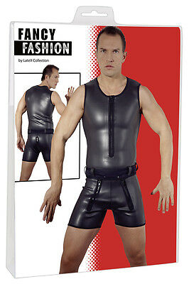 Suit Catsuit Short Coating Rubber Zip Shorts Overall with Zipper
