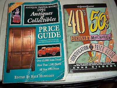 2 ANTIQUE COLLECTIBLE MEMORABILIA IDENTIFICATION PRICE GUIDE BOOKS 40s 50s 1995