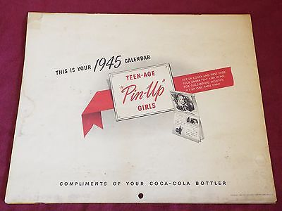 RARE Vintage 1945 TEENAGE PIN UP GIRLS COCA-COLA CALENDAR Complete Advertising
